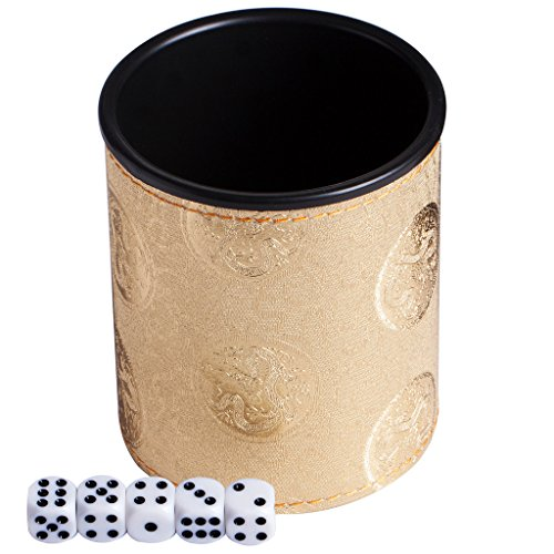 Magic Vosom Leatherette Dice Cup with 5 Dice for Karaoke Bar Saloon and Party Gold Color
