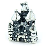.925 Sterling Silver  Disney Land Castle  Bead Compatible with Pandora Chamilia Kay Troll Bracelet