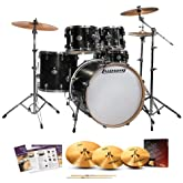 Ludwig LCF52G-023 Element Drive 5-Pc Drum Set - Black Gold with Hardware, Pedal, Zildjian ZBTX390 Cymbals & Sticks