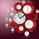Toprate(TM) Red and Silver Rounds Wall Clock Mirror Wall Clock Modern Design Removable DIY Acrylic 3D Mirror Wall Decal Wall Sticker Decoration