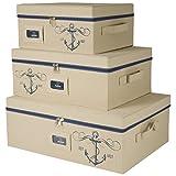 Sheffield Home - Set Of Three Storage Bins With Zippered Lids - Decorative Storage Boxes - Storage Bins With Lids - Nautical Décor (Beige)