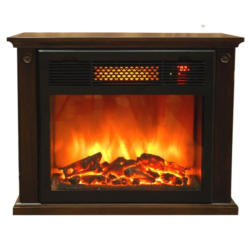Thermal Wave Electronic Infrared Fireplace by SUNHEAT, Espresso