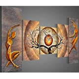 Santin Art - Modern Canvas Art Orange Trees Dancing Home Decoration Abstract Paintings on Canvas 5pcs/set Framed Art