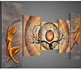 100% Hand-painted Free Shipping Wood Framed Orange Trees Dancing Home Decoration Abstract Landscape Oil Painting on Canvas 5pcs/set