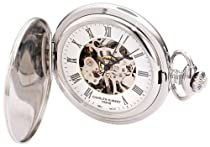 Charles-Hubert, Paris 3919 Premium Collection Stainless Steel Mechanical Pocket Watch