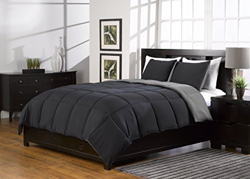 Best Deals! 3 Pc Black and Grey Comforter Set, Alternative Down, King/queen Size, Karalai Bedding Co...