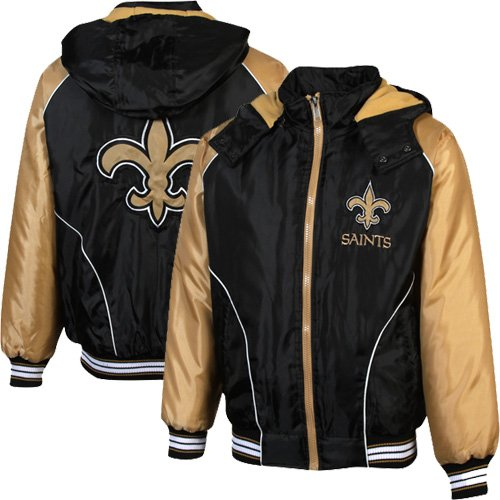 NFL New Orleans Saints Touchdown Full Zip Hooded Jacket - Black/Old Gold (Large) at Amazon.com