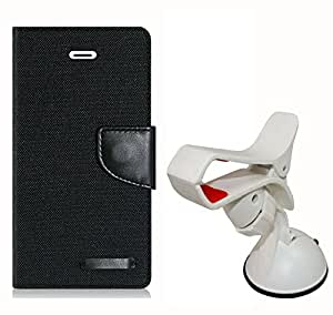 Aart Fancy Wallet Dairy Jeans Flip Case Cover for MicromaxQ380 (Black) + Mobile Holder Mount Bracket Holder Stand 360 Degree Rotating (WHITE) by Aart Store