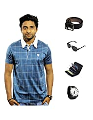 Garushi Blue T-Shirt With Watch Belt Sunglasses Cardholder