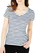Pure Cotton Striped T-Shirt with Stay New [T41-2552P-S]