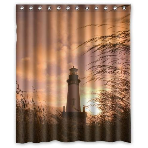 Special Design Lighthouse With Sunset Pattern Waterproof Bathroom Fabric Shower CurtainBathroom Decor 60