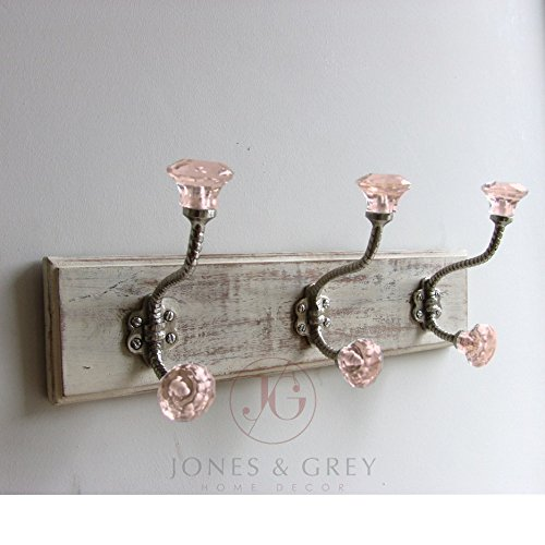 shabby-chic-white-distressed-wall-hook-coat-rack-with-3-pink-glass-facet-silver-hooks