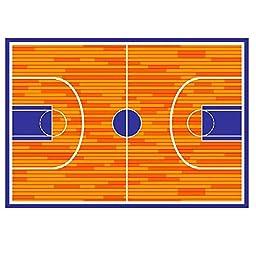 Kids Rug BasketBall Court 3\' X 5\' Children Area Rug - Non Skid Gel Backing (39\