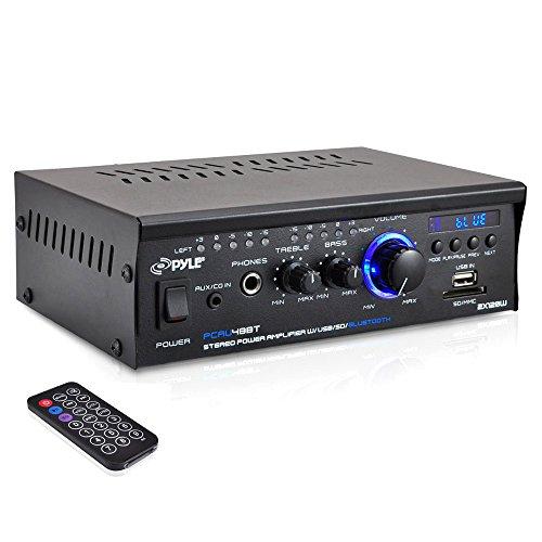 PYLE PCAU48BT Bluetooth Mini Blue Series Stereo Power Amplifier, 2 x 120W , USB Charge, USB/SD Readers, AUX Input