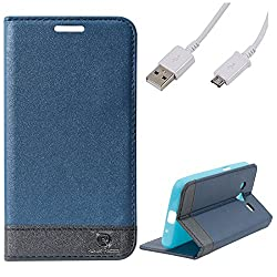 DMG Samsung Galaxy Core 2 Flip Cover, DMG PRaiders Premium Magnetic Wallet Stand Cover Case for Samsung Galaxy Core 2 (Pebble Blue) + Micro USB Data Cable