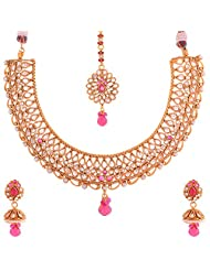 New Amrit Jewellers Gold Plated 1 Grams Antic Stones Necklace For Women