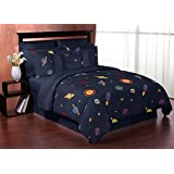 Space Galaxy Galactic Rocket Ship Planets Children and Kids 3 Piece Full / Queen Boy Bedding Set Collection
