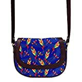 Tropical Birds & Feathers Blue Leather Sling Bag