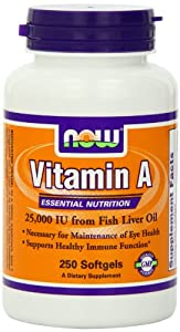 Now Foods Vitamin A, 25000 IU from Fish liver oil,  250 Soft-gels