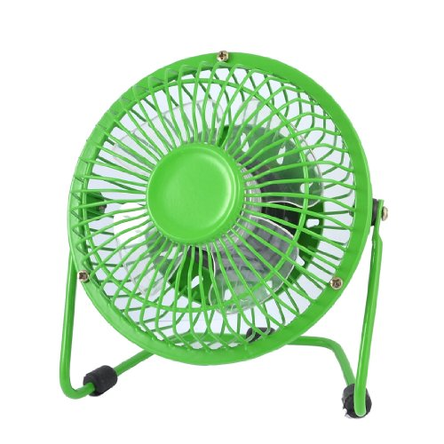Amico Dormitory Summer Cooling Green Metal Housing Plastic Blade Desk USB Mini Fan 4