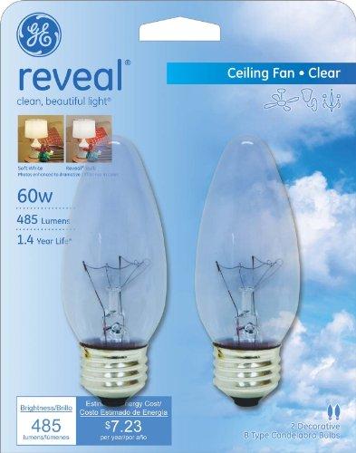 ge lighting reveal 48713 60 watt ceiling fan blunt tip light bulb with medium. Black Bedroom Furniture Sets. Home Design Ideas