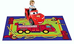 MYBECCA\'s Kids Rug Junior FIRE FIGHTING TRUCK Playtime Area Rug 3ft X 5ft for Nursery and Playroom