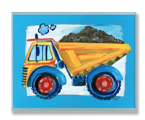 The Kids Room by Stupell Yellow Dump Truck with Blue Border Rectangle Wall Plaque