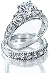 Bling Jewelry Sterling Silver Deco Style 4 Prong CZ Wedding Ring Set