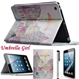 Eallc New Stylish 3in1 Leather Paris Tower Smart Case Cover Stand for Apple iPad Mini (umbrella girl+tower)