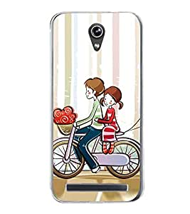Love Couple on Cycle 2D Hard Polycarbonate Designer Back Case Cover for Asus Zenfone Go ZC500TG (5 Inches)