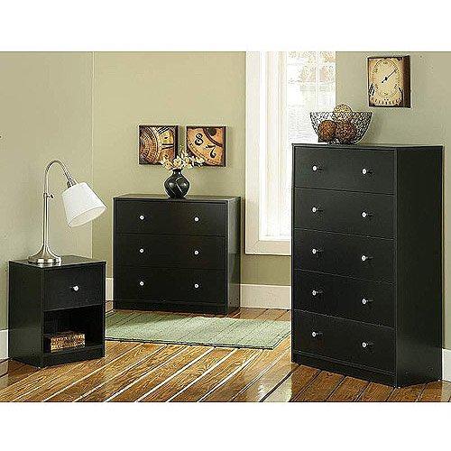 3 piece furniture set nightstand 3 drawer dresser and 5 drawer dresser black wood coconuas203. Black Bedroom Furniture Sets. Home Design Ideas