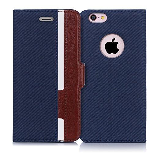 iPhone6s ケース iPhone6ケース,Fyy 100%手作り 高級PUレザー ケース 手帳型 保護ケース カード収納ホルダー付き 横置きスタンド機能付き マグネット式 スマホケース