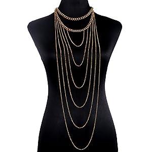 lureme® Fashion Gold Tone Tassel Body Chain Long Chain Necklace (01004106)