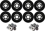 OUTDOOR Inline Skate Wheels 80MM 89a BLACK x8 W/ ABEC 9 BEARINGS