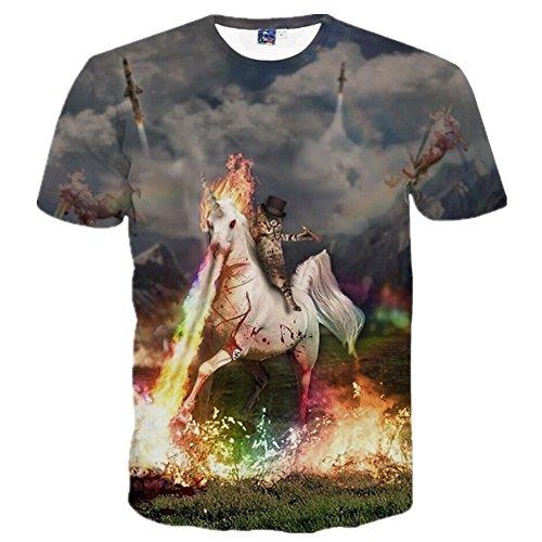 1911NCメンズ 3Dプリント ヒップホップ おもしろ おしゃれ ファッション ロック スタイル 猫 馬 宇宙人柄 Tシャツ 半袖 夏