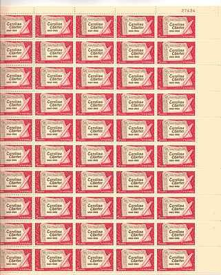 Carolina Charter Sheet of 50 x 5 Cent US Postage Stamps NEW Scot 1230