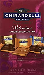 Ghirardelli Valentine\'s Chocolate Squares, Caramel Trio, 8.51-Ounce Packages (Pack of 3)