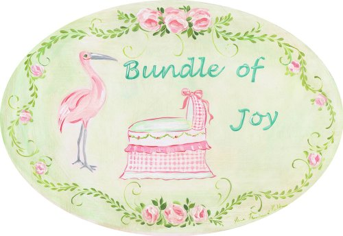 The Kids Room by Stupell Bundle of Joy with Pink Bassinet and Stork Oval Wall Plaque