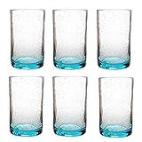 Tag 555176 Bubble Tumbler Glass, 18-Ounce, Aqua, Set of 6