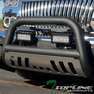Topline Autopart Matte Black HD Heavyduty Bull Bar Brush Push Front Bumper Grill Grille Guard Protector Tubular Tube w/ Chrome Skid Protective Plate 04-12 Chevy Colorado / GMC Canyon (2006 Colorado Front Grill compare prices)