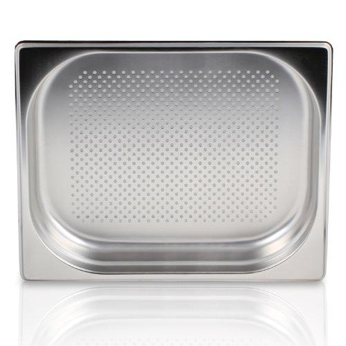 Greyfish GN-Behälter :: gelocht :: für Gaggenau / Miele / Siemens Dampfgarer (Edelstahl / Spülmaschinen geeignet, Gastronorm 2/3, B 32,5 x L 35,4 x H 4,0 cm)