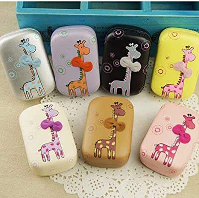 1 Piece New leather giraffe Contact Lens Case bowknot hard cute lenses box for women with mirror eyewear case OFFICE-294