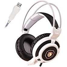 buy Sades Sa905 7.1 Surround Sound Usb Gaming Headset With Microphone Glittering Led Lights Vibration Module Integrated Subwoofer Noise Insulation For Pc Gamer (Black & White)