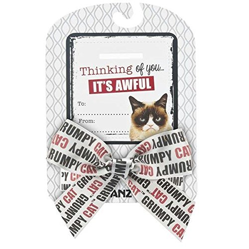 "Grumpy Cat Sentiments ""Thinking of You It's Awful"" Bow & Card - 1"
