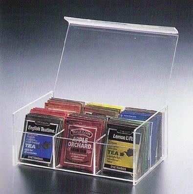 """6 Compact Tea Bag Box (Clear) (8.5""""L X 5.5""""W X 3.5""""H)"""