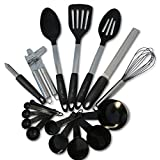 Cooking Utensils- Home Kitchen Tools And Gadgets Set- Silicone And Stainless Steel - Spoon, Slotted Spoon, Zester...