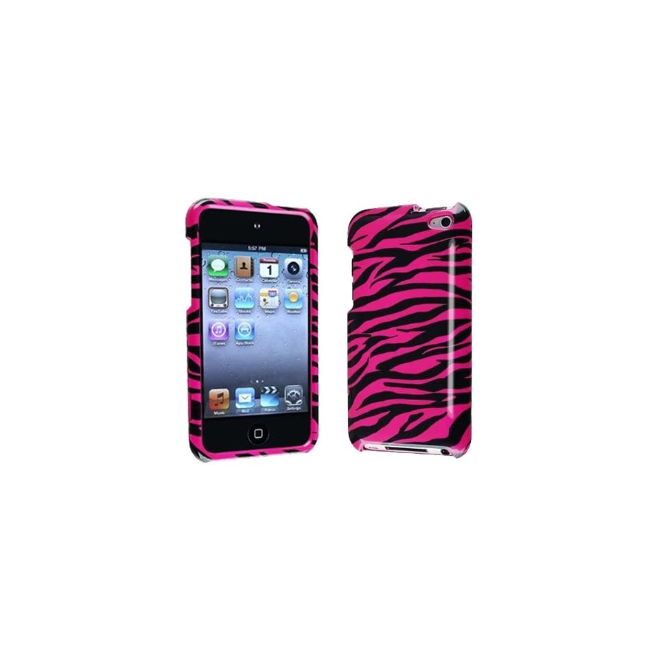 Importer520 Hot Pink + Black Zebra Snap on Hard Crystal Skin Case Cover Accessory for Ipod Touch 4th Generation 4g 4 8gb 32gb 64gb