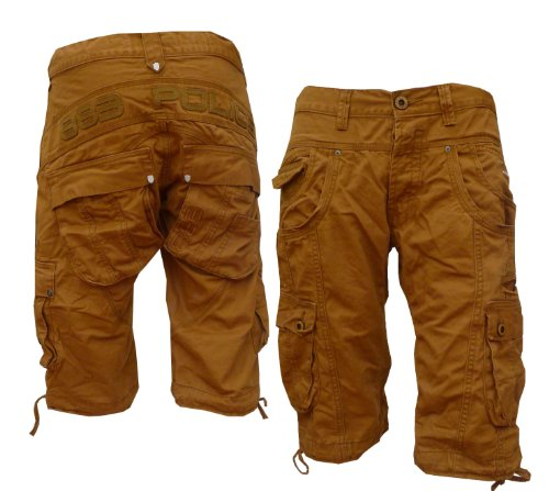 Mens 883 Police Seatte Tan Combat Cargo Shorts - £40.00 (28