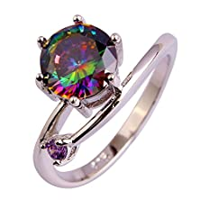 buy Psiroy 925 Sterling Silver Fashion Exquisite Round Cut Rainbow Topaz Cz Filled Ring