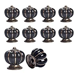 Yazer 10pcs x Pumpkin Ceramic Drawer Pulls Luxury Pulls and Knobs for Wardrobe,Kitchen,Bedroom Door,Cupboard,Dresser,Cabinet (Black)